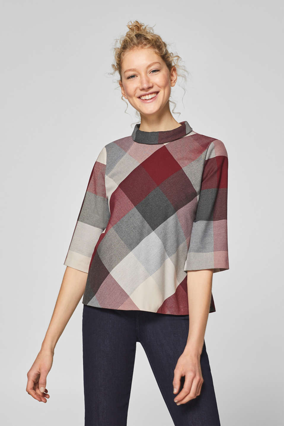 Esprit - Check blouse with 3/4-length sleeves