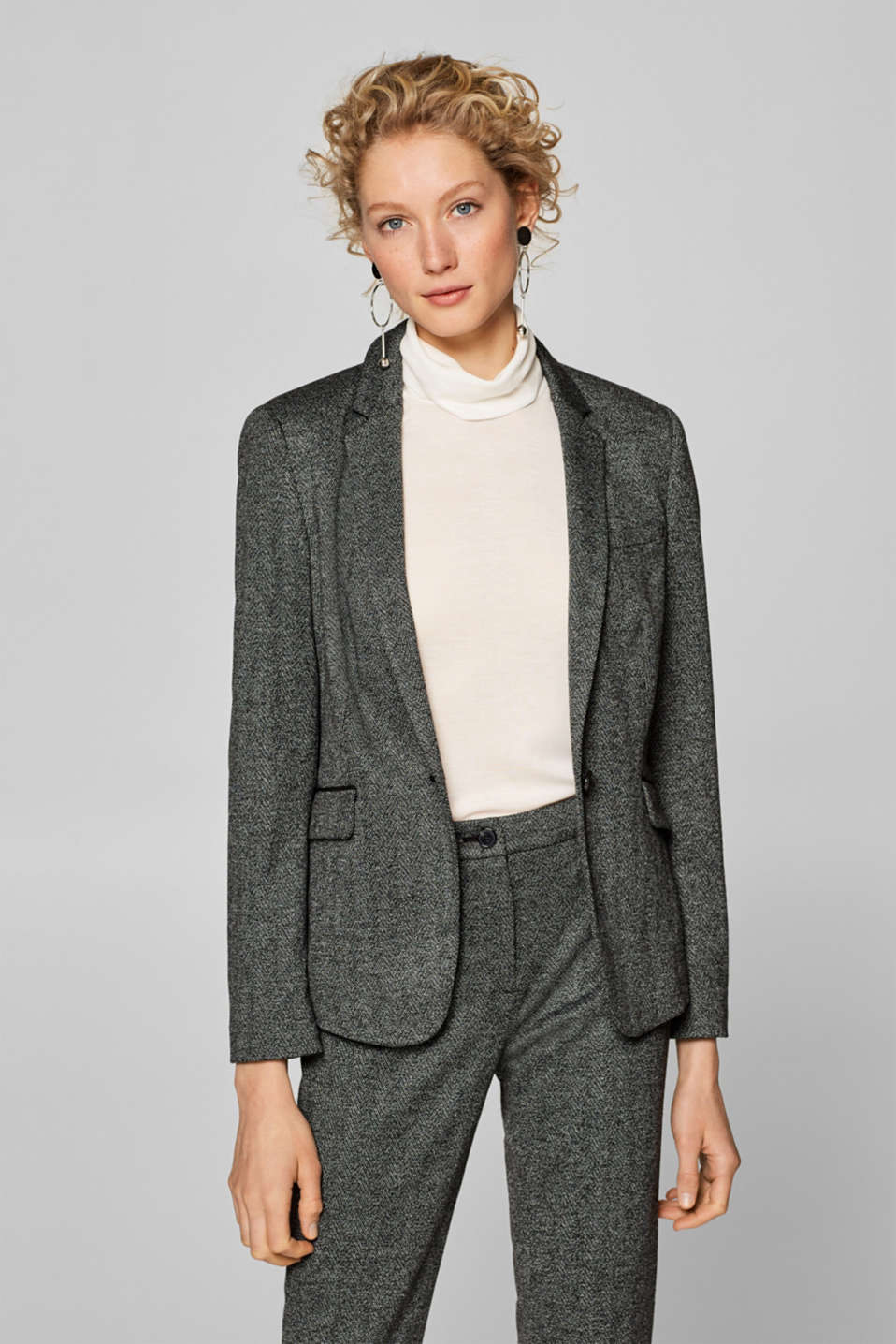 Esprit - AUTUMN FISCHGRAT Mix + Match Stretch-Blazer