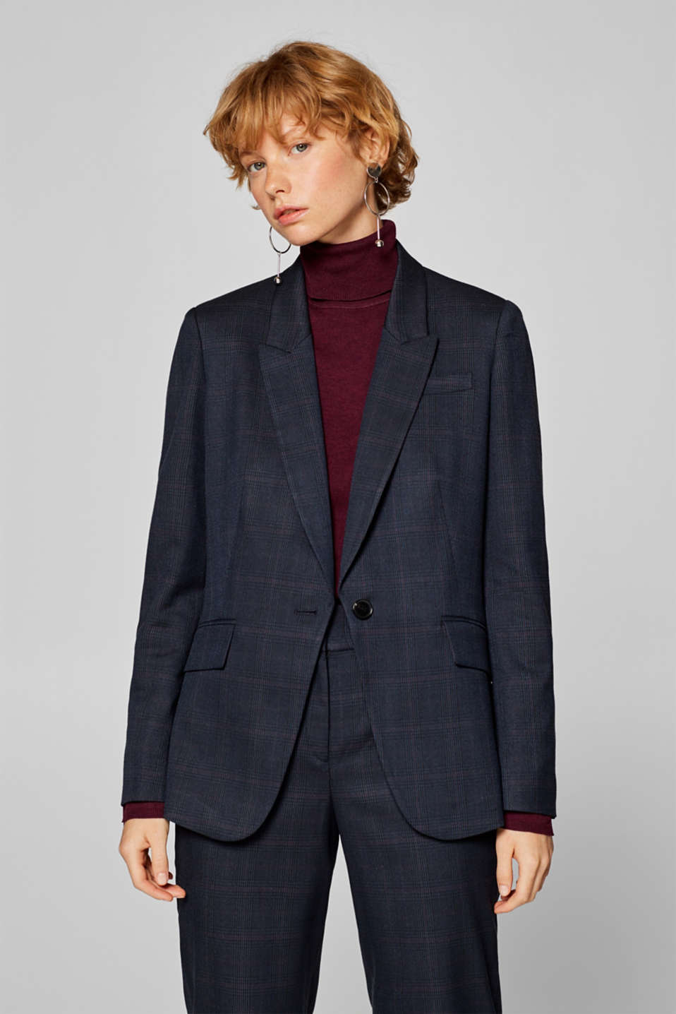 Esprit - SUBTLE GLENCHECK Mix + Match Stretch-Blazer