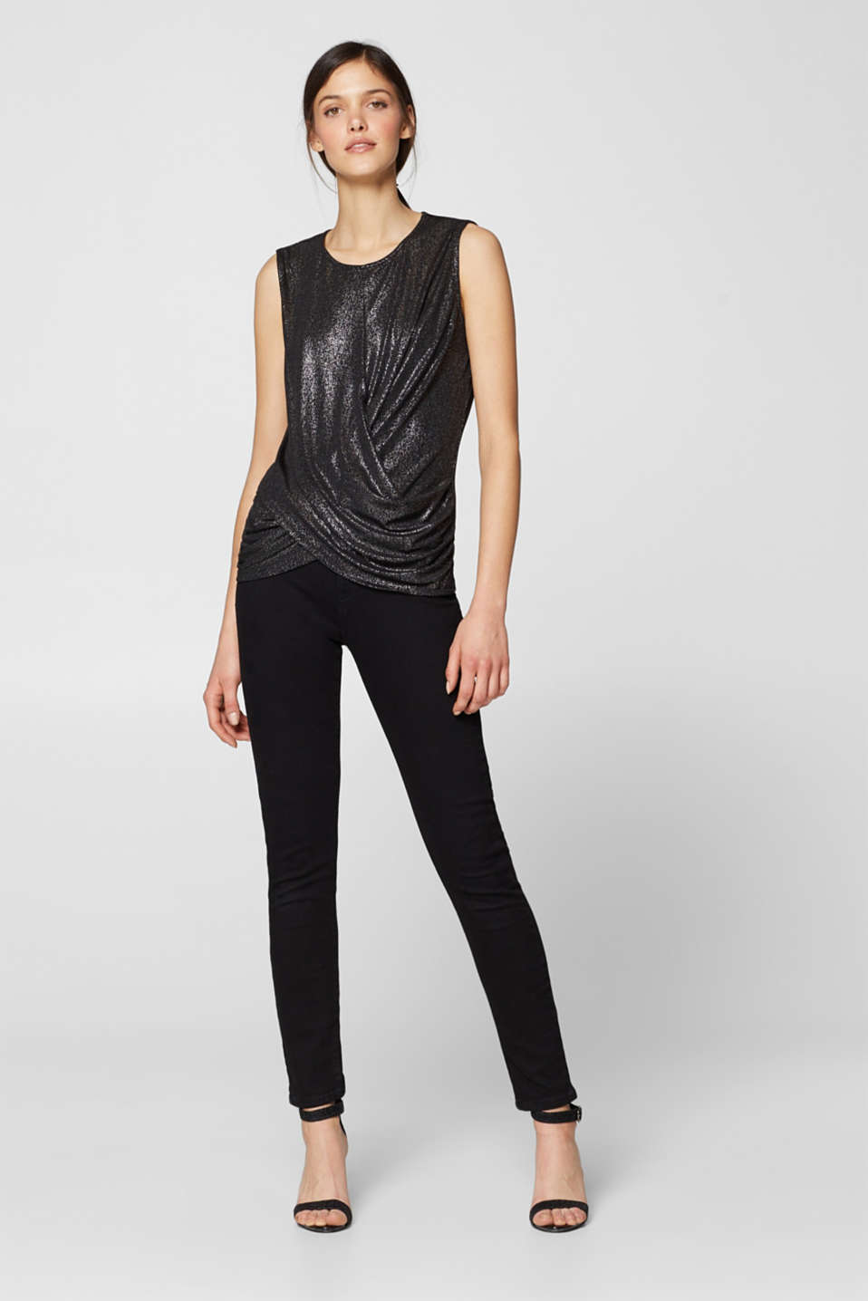 Esprit - Glitter jersey top in a wrap-over look