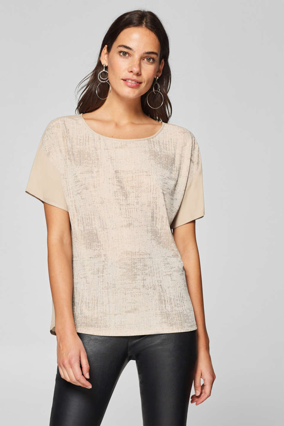 Esprit - Blouse top with textured stripes and shiny print