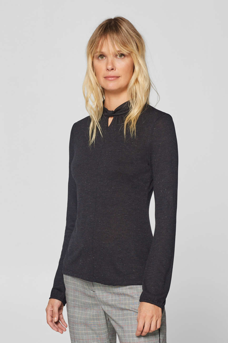 Esprit - Long sleeve top with a stand-up collar