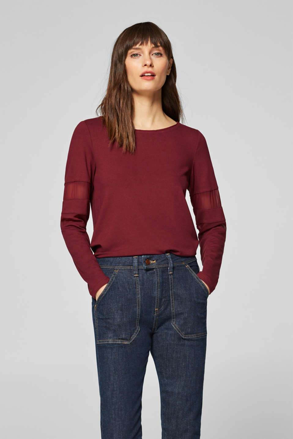Esprit - Long sleeve top with chiffon trims