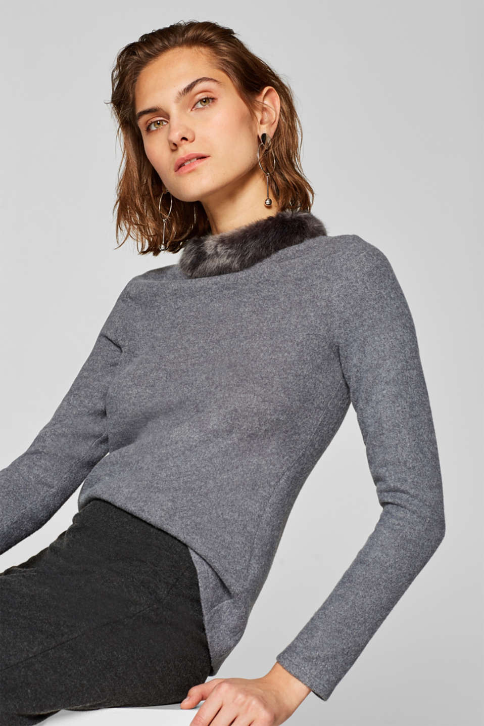 Esprit - Brushed long sleeve top with fake fur collar