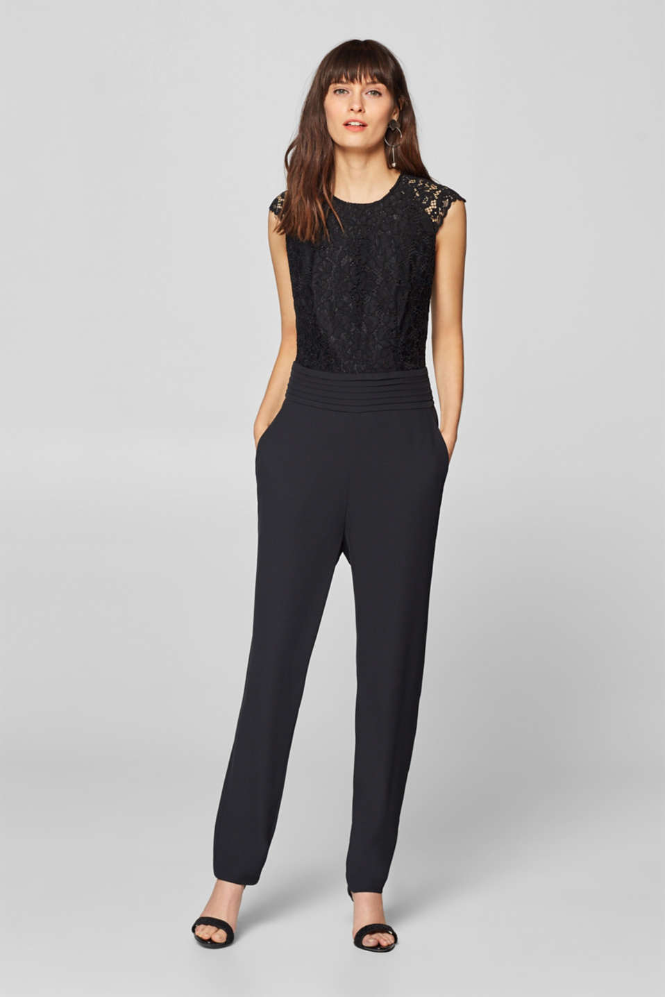 Esprit - Fabric and lace jumpsuit