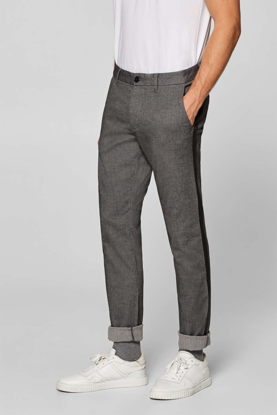 Esprit - Textured stretch trousers with side stripes