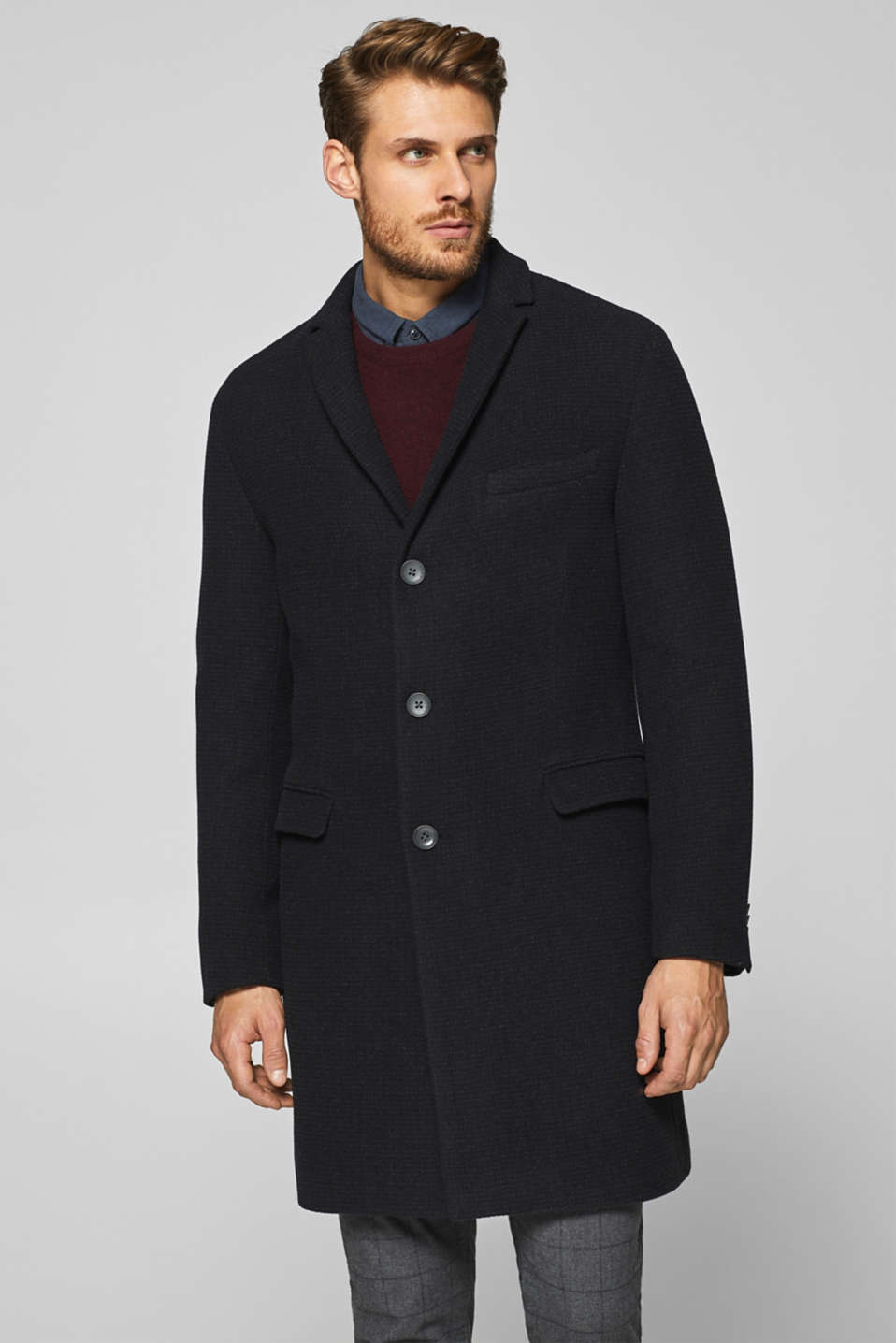 Esprit - Wool blend: Textured coat