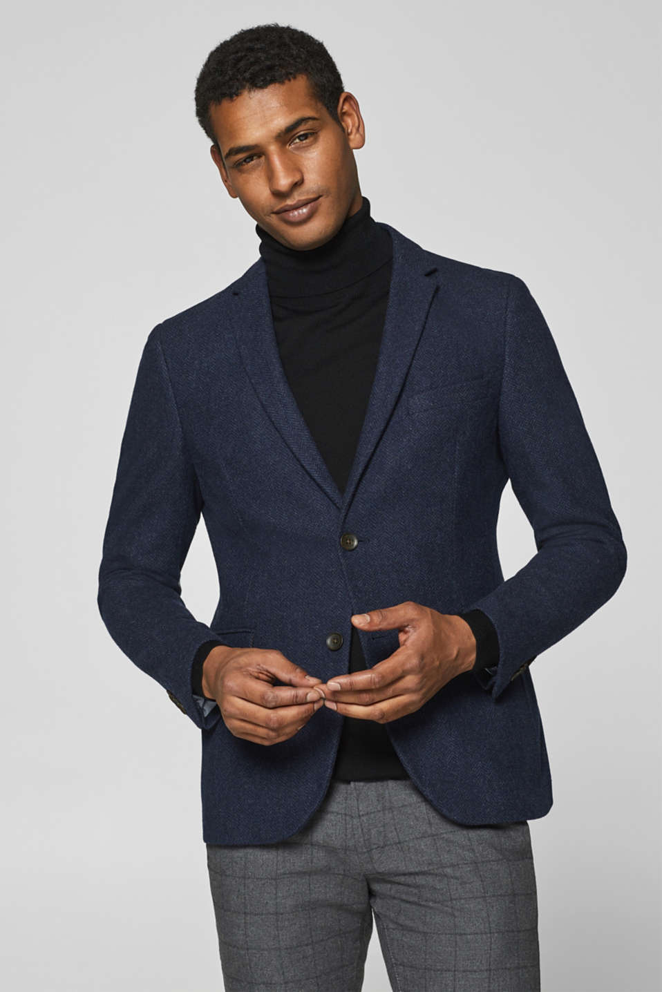 Esprit - Wool blend: sports jacket with a herringbone texture