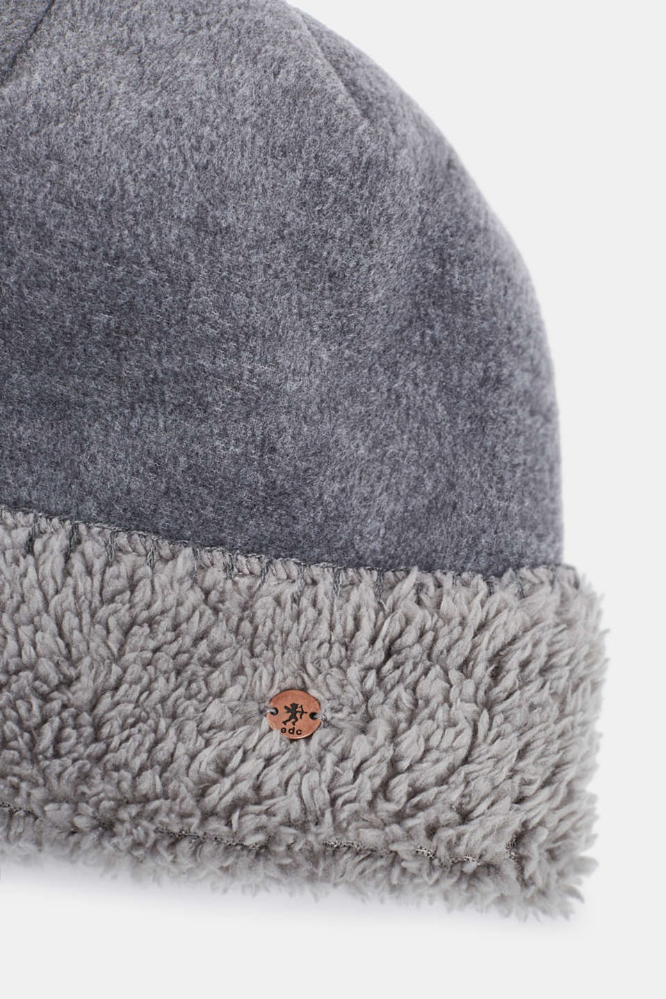 Fleece hat with plush lining, GREY, detail image number 1