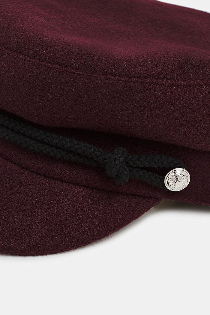 Wool-effect sailor's cap, BORDEAUX RED, detail image number 1