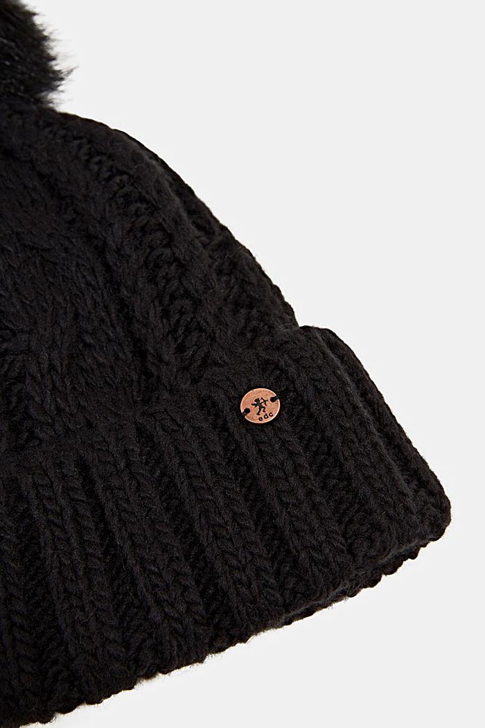 Muts met pompon van imitatiebont, BLACK, detail image number 1
