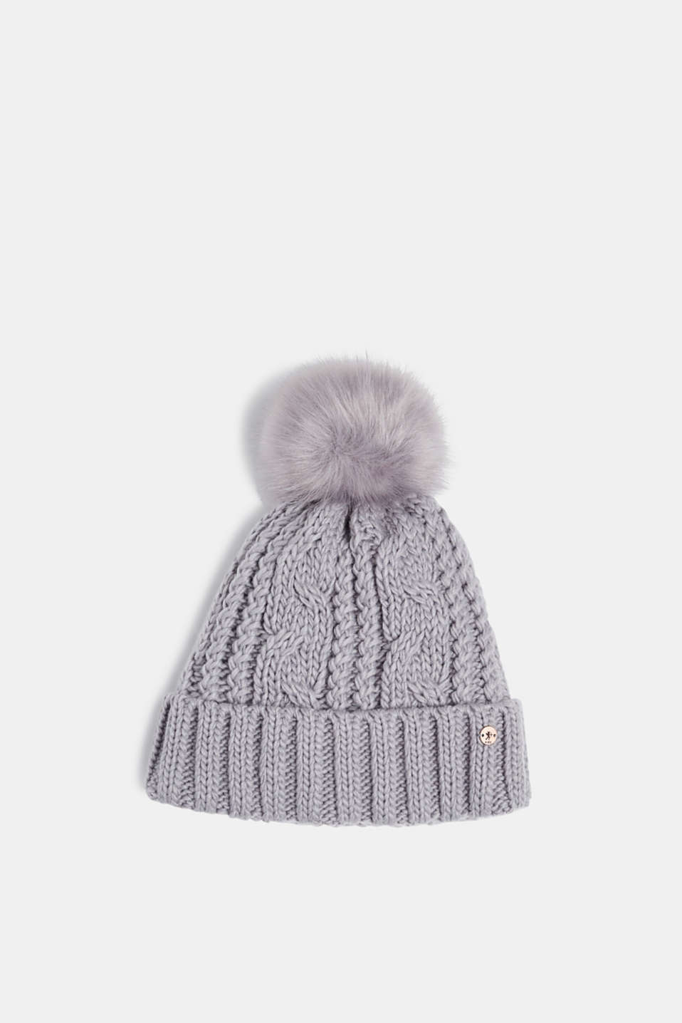 edc - Hat with fake fur pompom