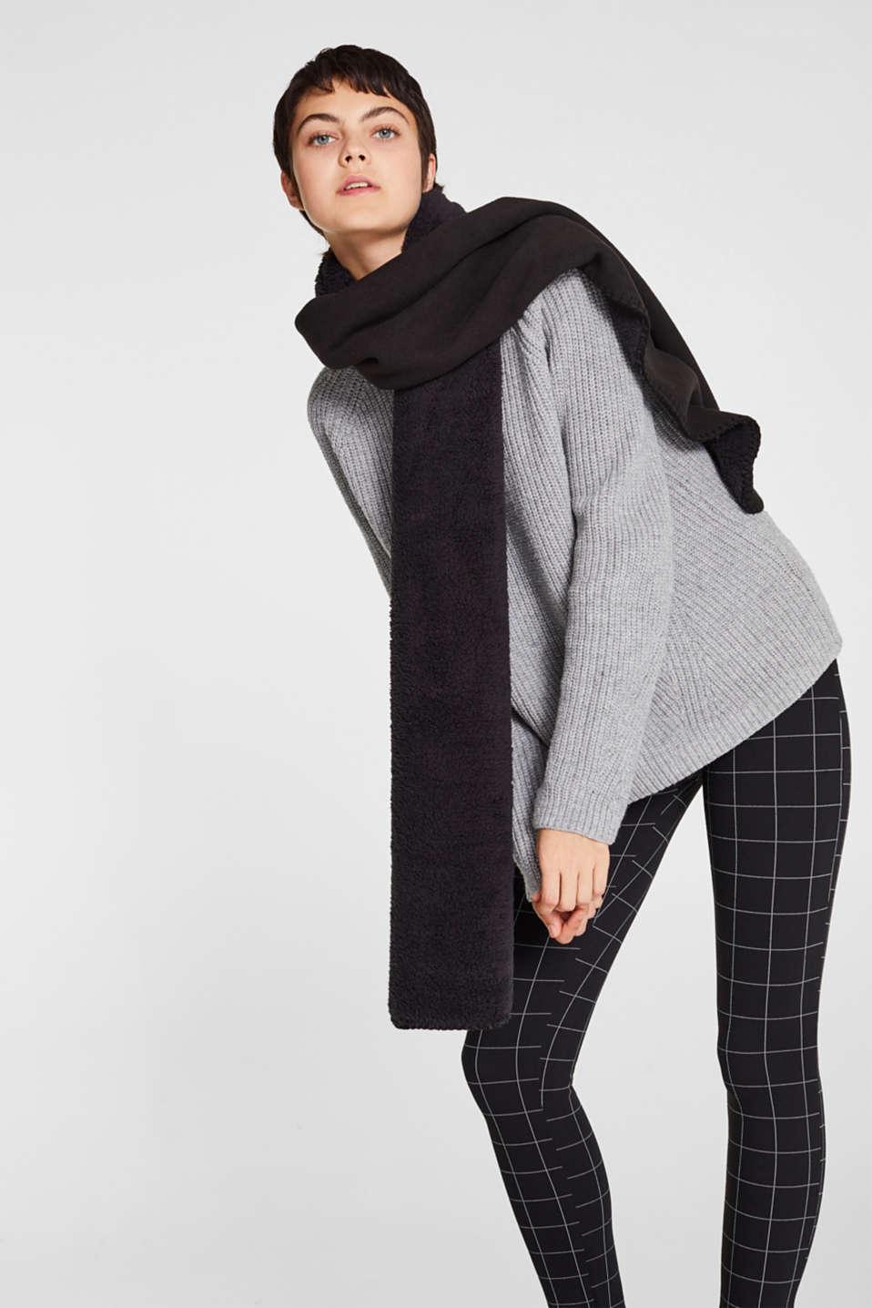 Fleece scarf with teddy fur, BLACK, detail image number 1