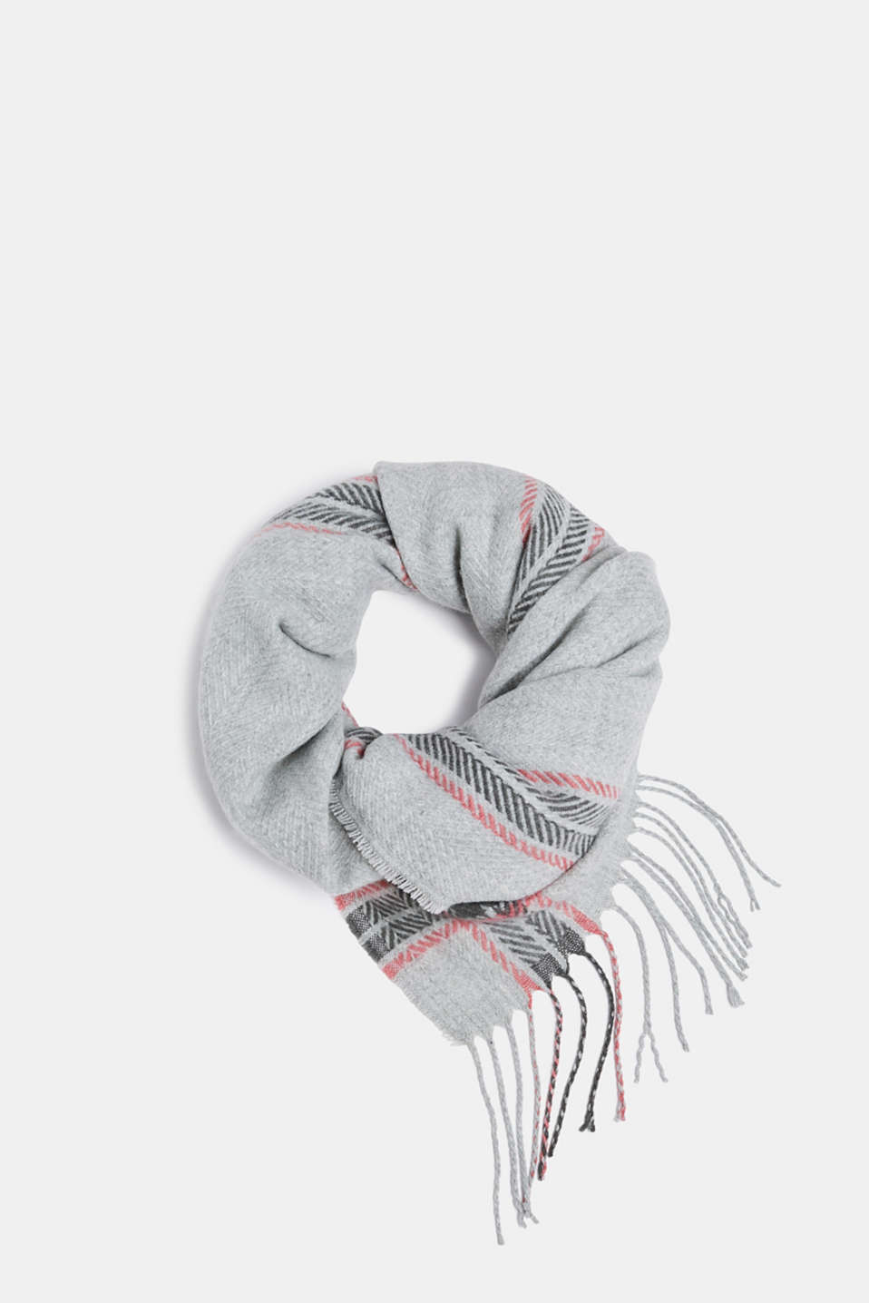 edc - Woven scarf with a checked pattern