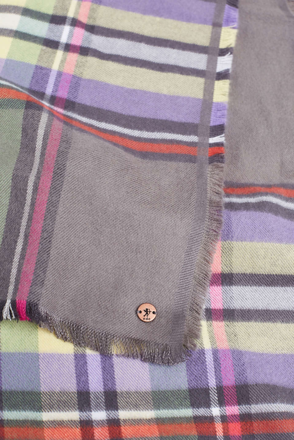 Check scarf, GREY, detail image number 2