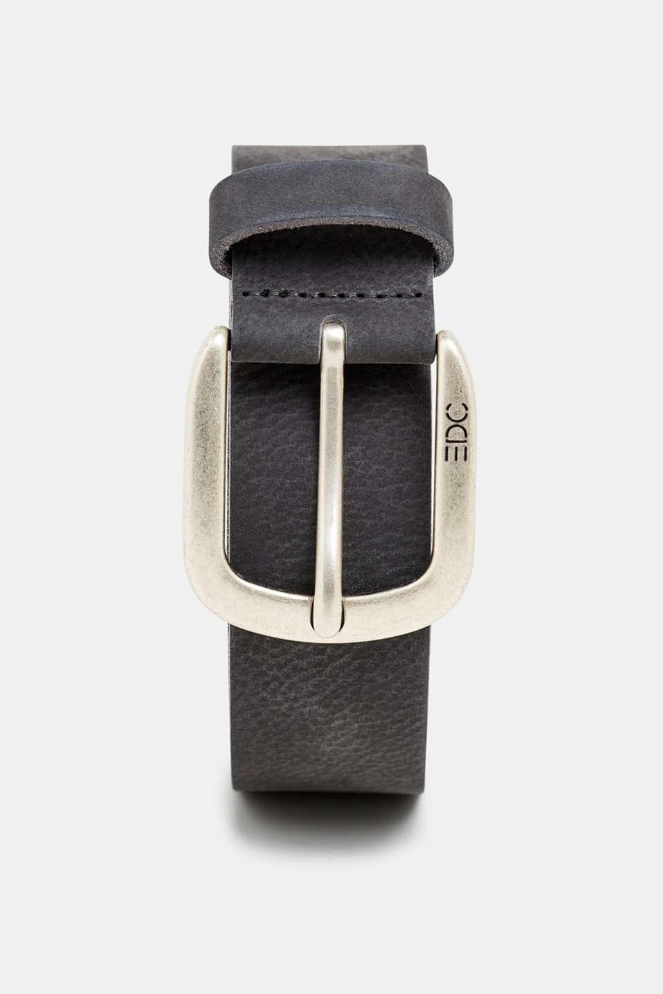 Nubuck leather belt, NAVY, detail image number 0
