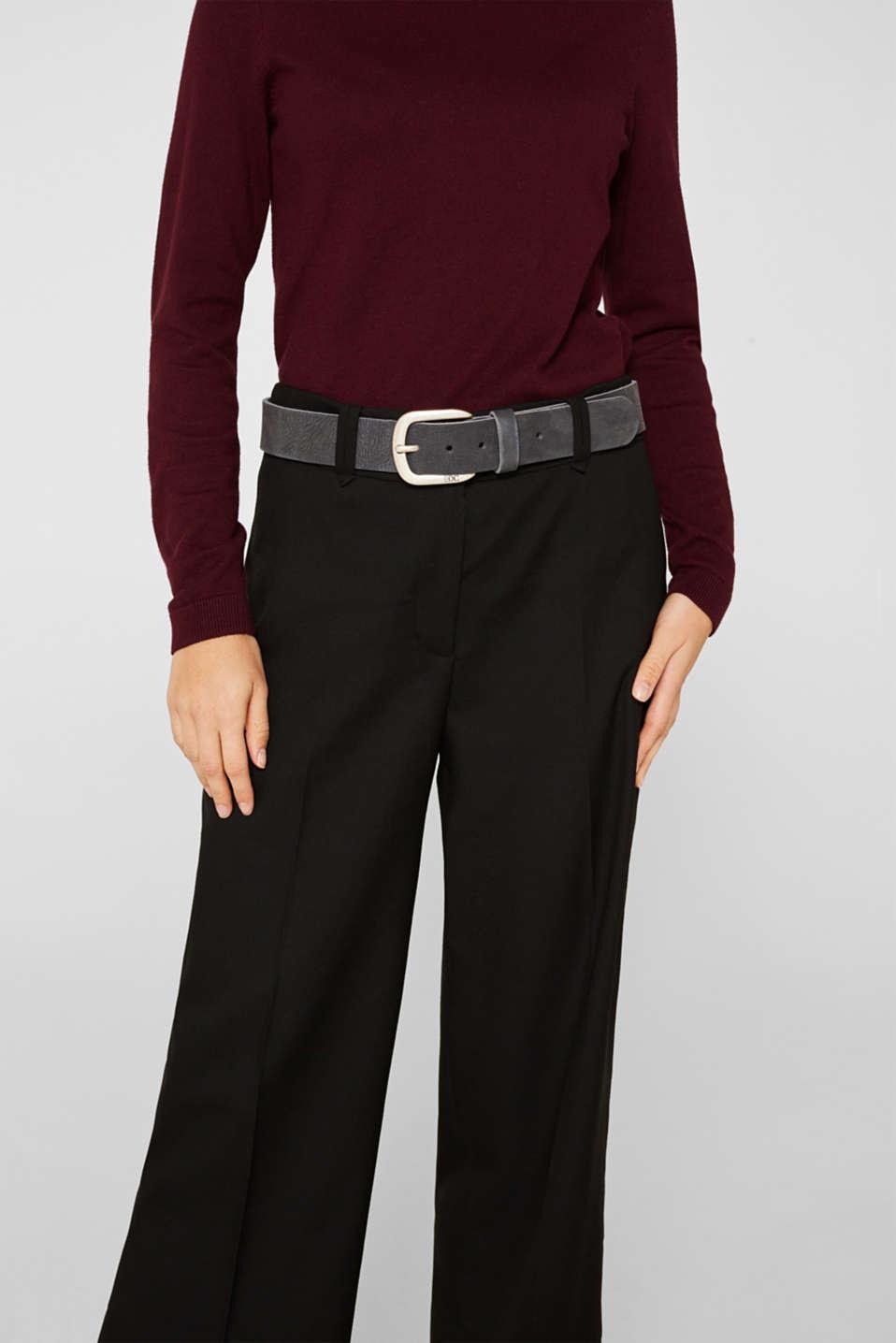 Nubuck leather belt, NAVY, detail image number 2