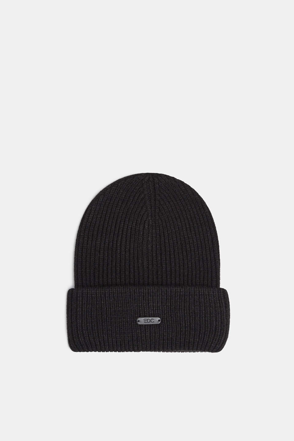 Ribbed beanie with a deep turn-back border, BLACK, detail image number 0