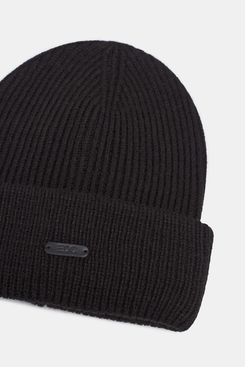 Ribbed beanie with a deep turn-back border, BLACK, detail image number 1