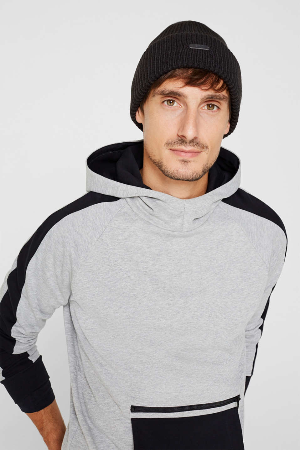 Ribbed beanie with a deep turn-back border, BLACK, detail image number 2