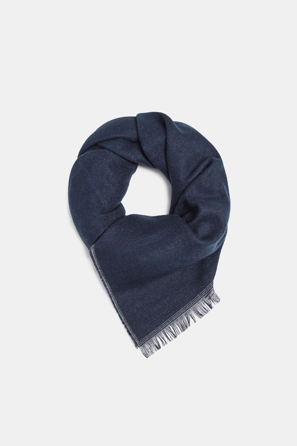 Double-faced fringed scarf, NAVY, detail image number 0