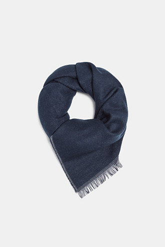 Double-faced fringed scarf
