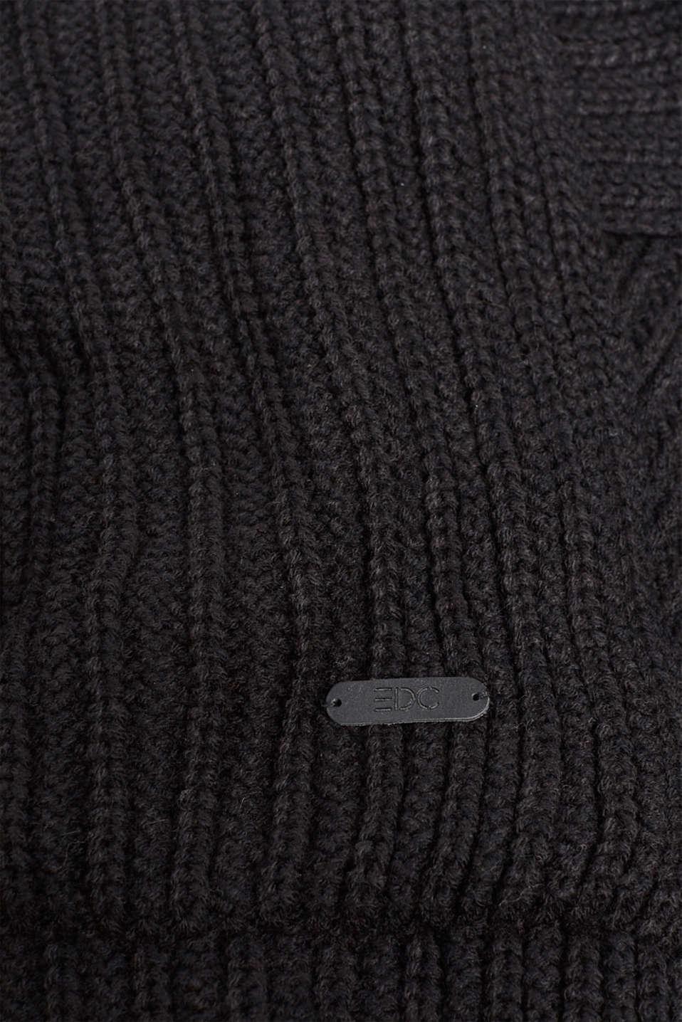Wool blend: ribbed knit snood, BLACK, detail image number 2