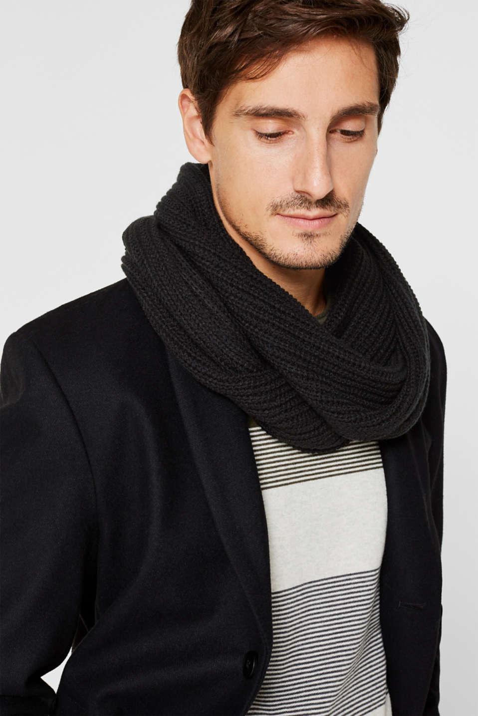 Wool blend: ribbed knit snood, BLACK, detail image number 1