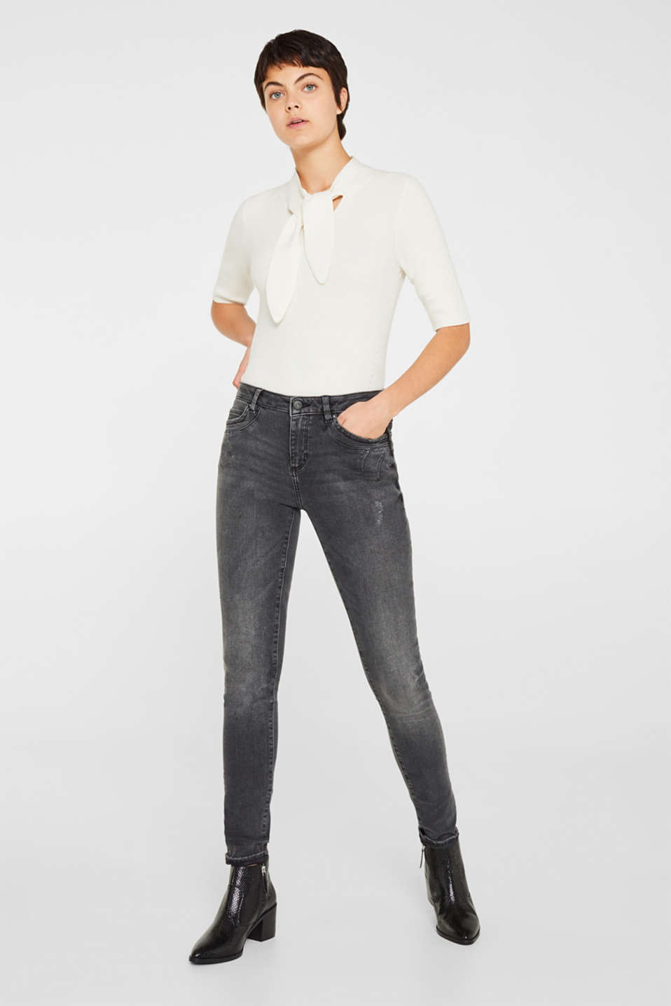 edc - Stretchjeans med casual, sort vask