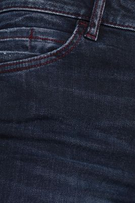 Stretch jeans with red stitching