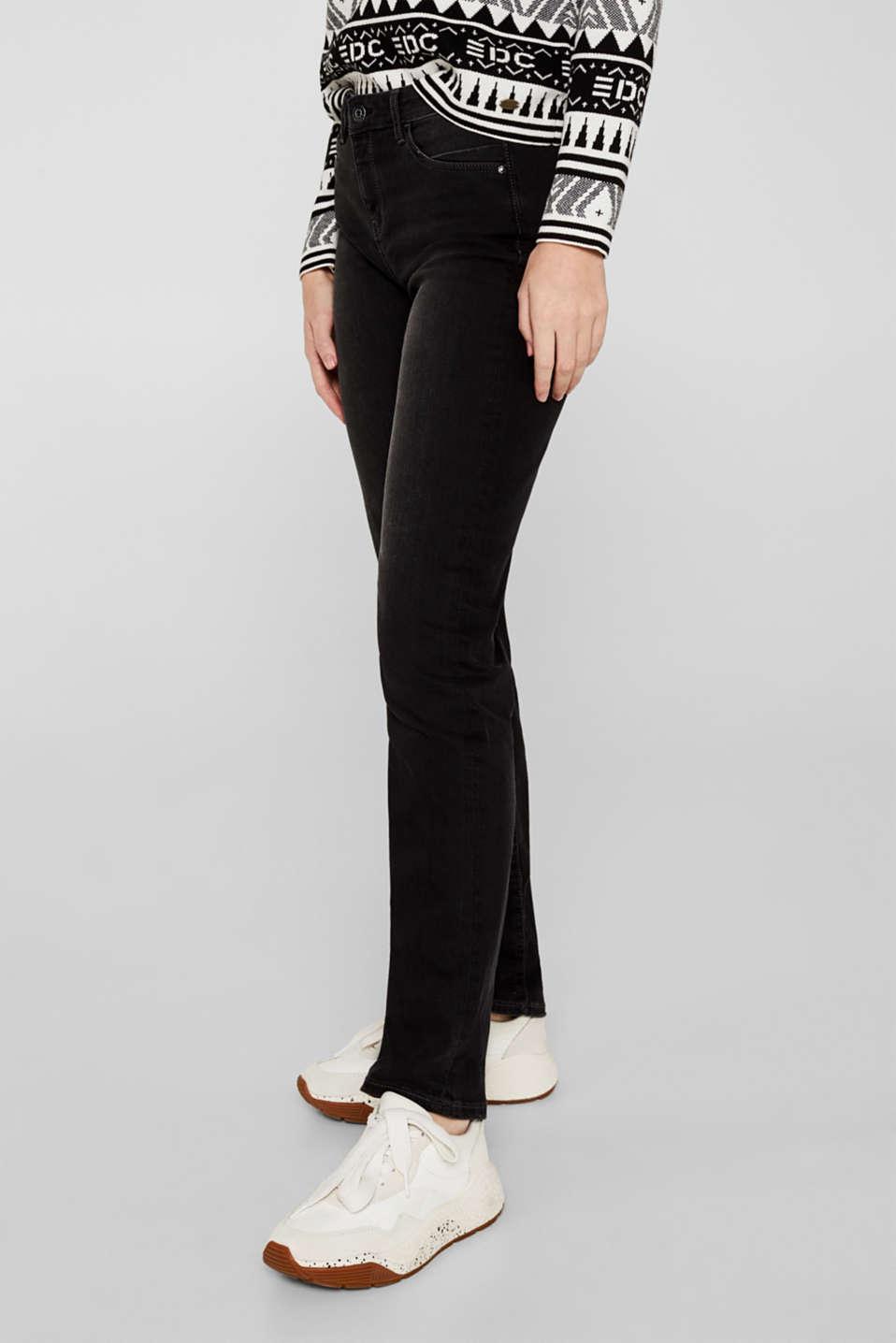 Stretch jeans with vintage effects, BLACK DARK WASH, detail image number 6