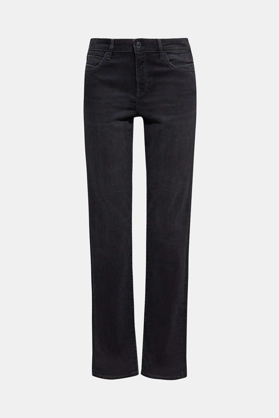 Stretch jeans with vintage effects, BLACK DARK WASH, detail image number 7