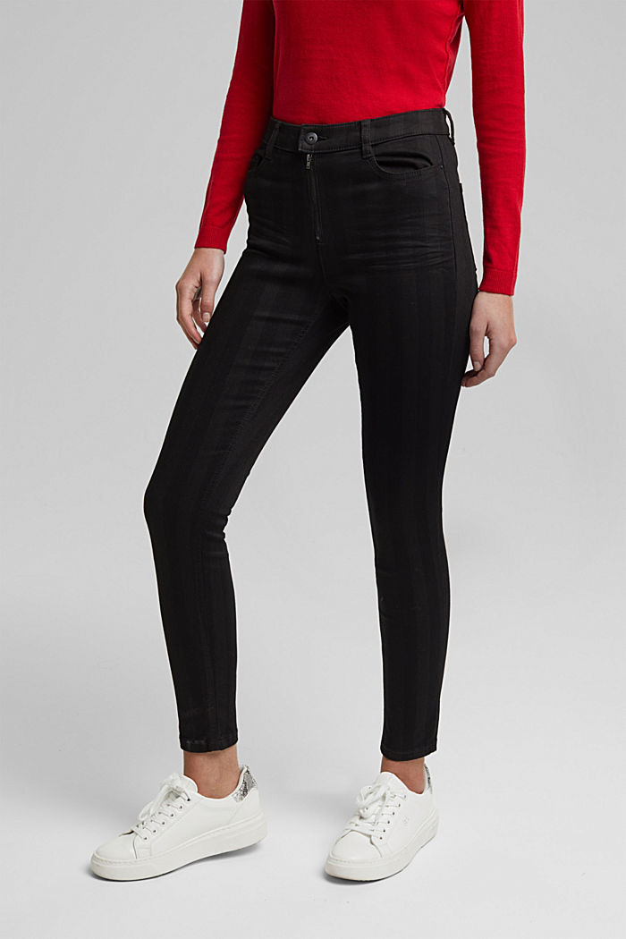High-rise trousers with stripes, BLACK, detail image number 0