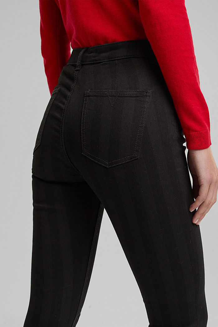 High-rise trousers with stripes, BLACK, detail image number 5