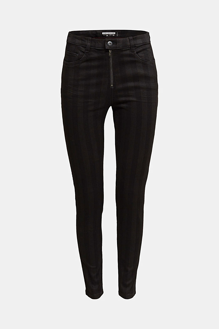 High-rise trousers with stripes, BLACK, detail image number 6