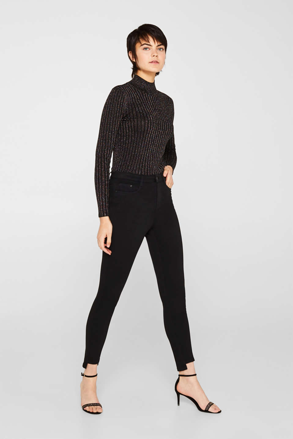 edc - Stretch trousers with high-low hems