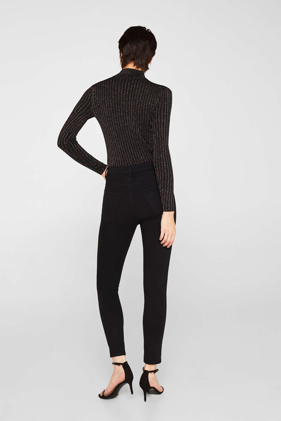 Stretch trousers with high-low hems, BLACK, detail image number 3