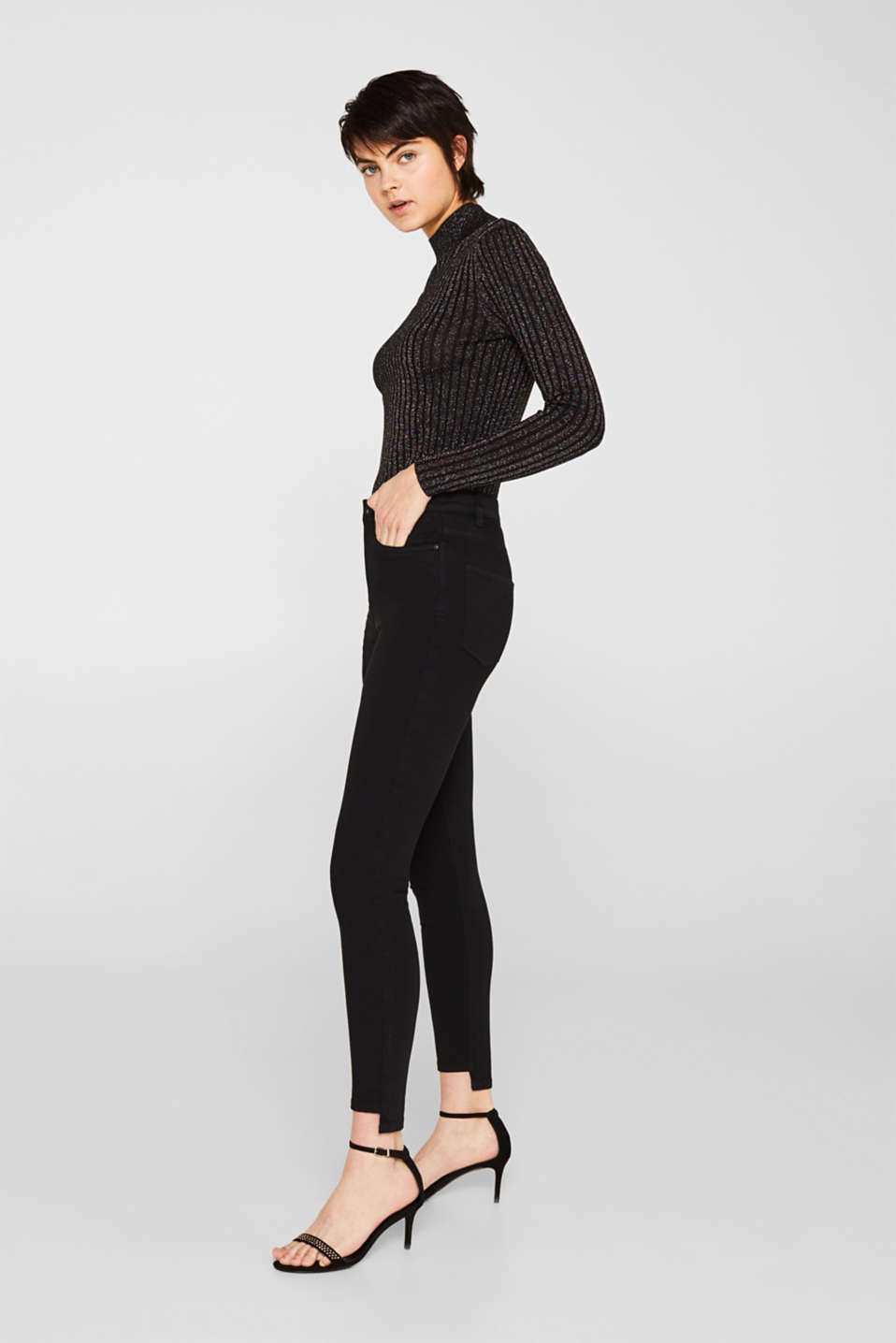 Stretch trousers with high-low hems, BLACK, detail image number 5