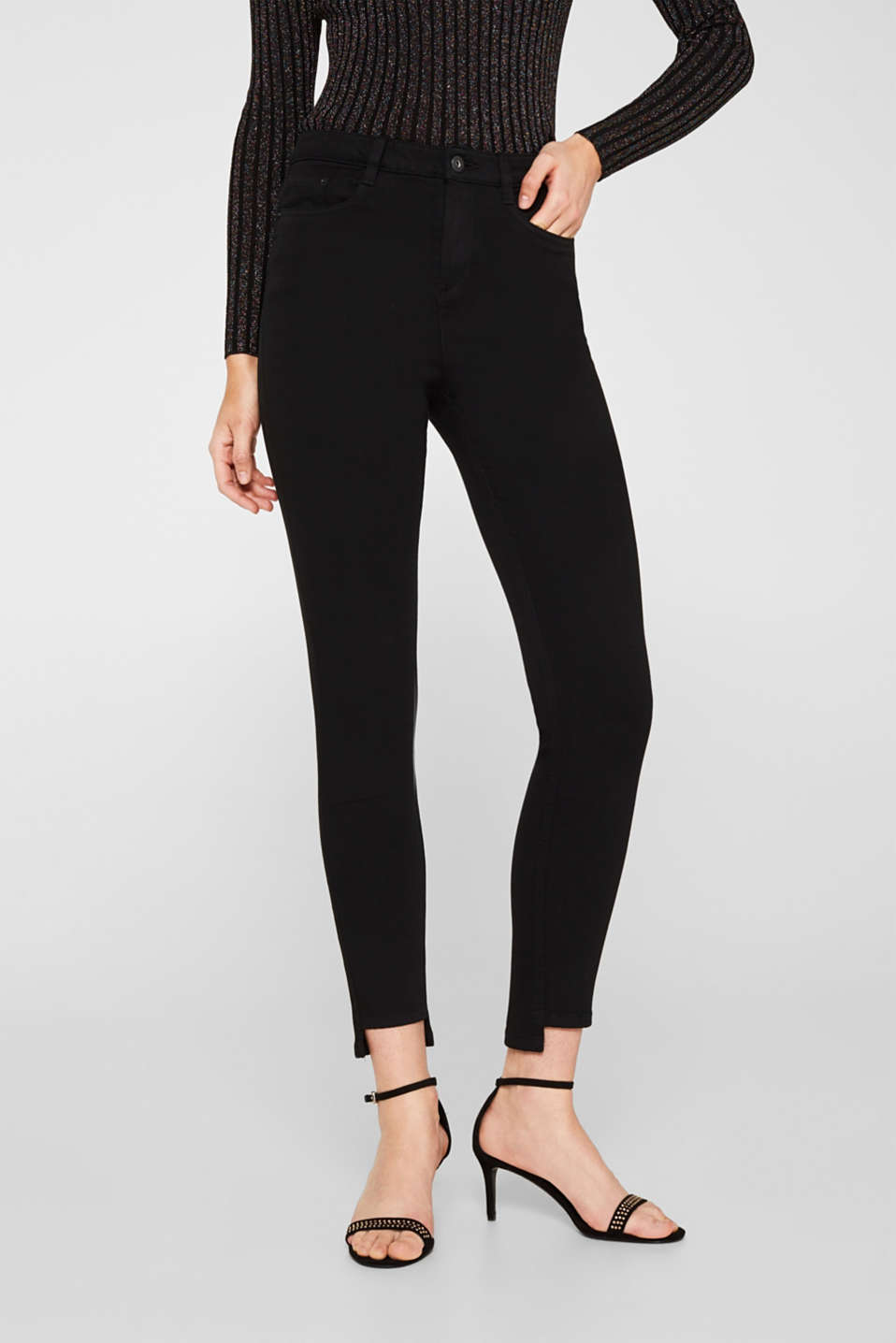 Stretch trousers with high-low hems, BLACK, detail image number 7