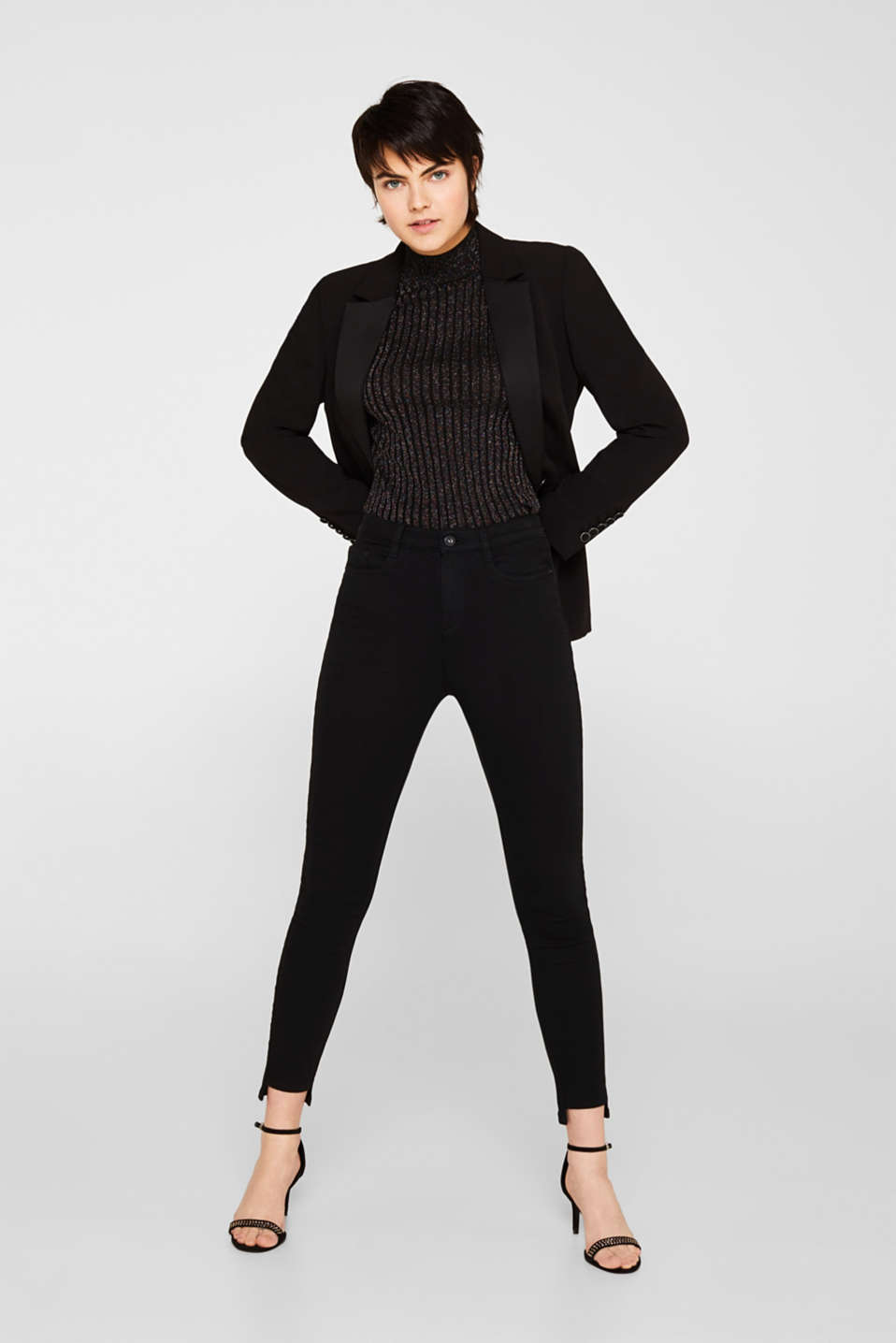 Stretch trousers with high-low hems, BLACK, detail image number 1