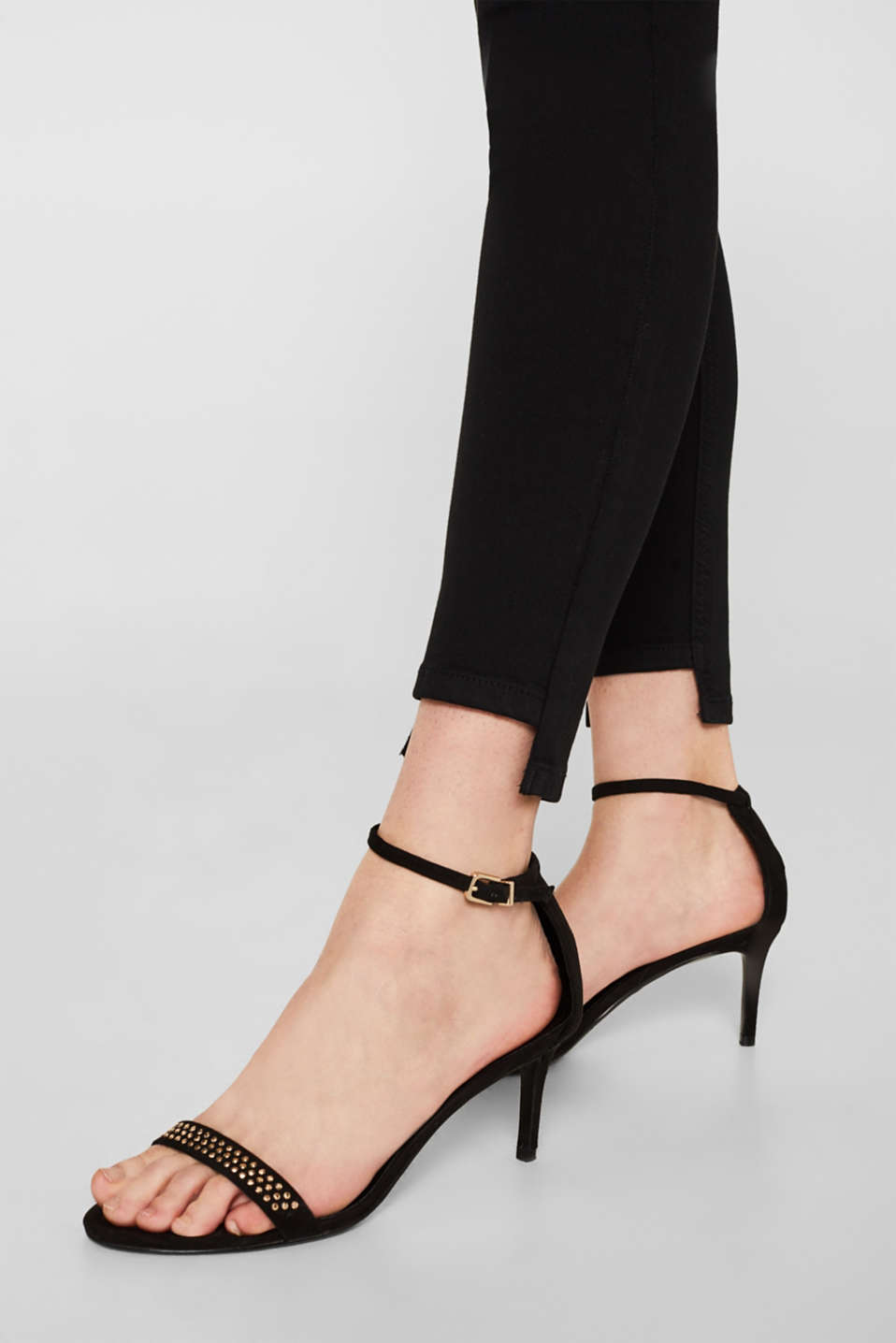 Stretch trousers with high-low hems, BLACK, detail image number 2