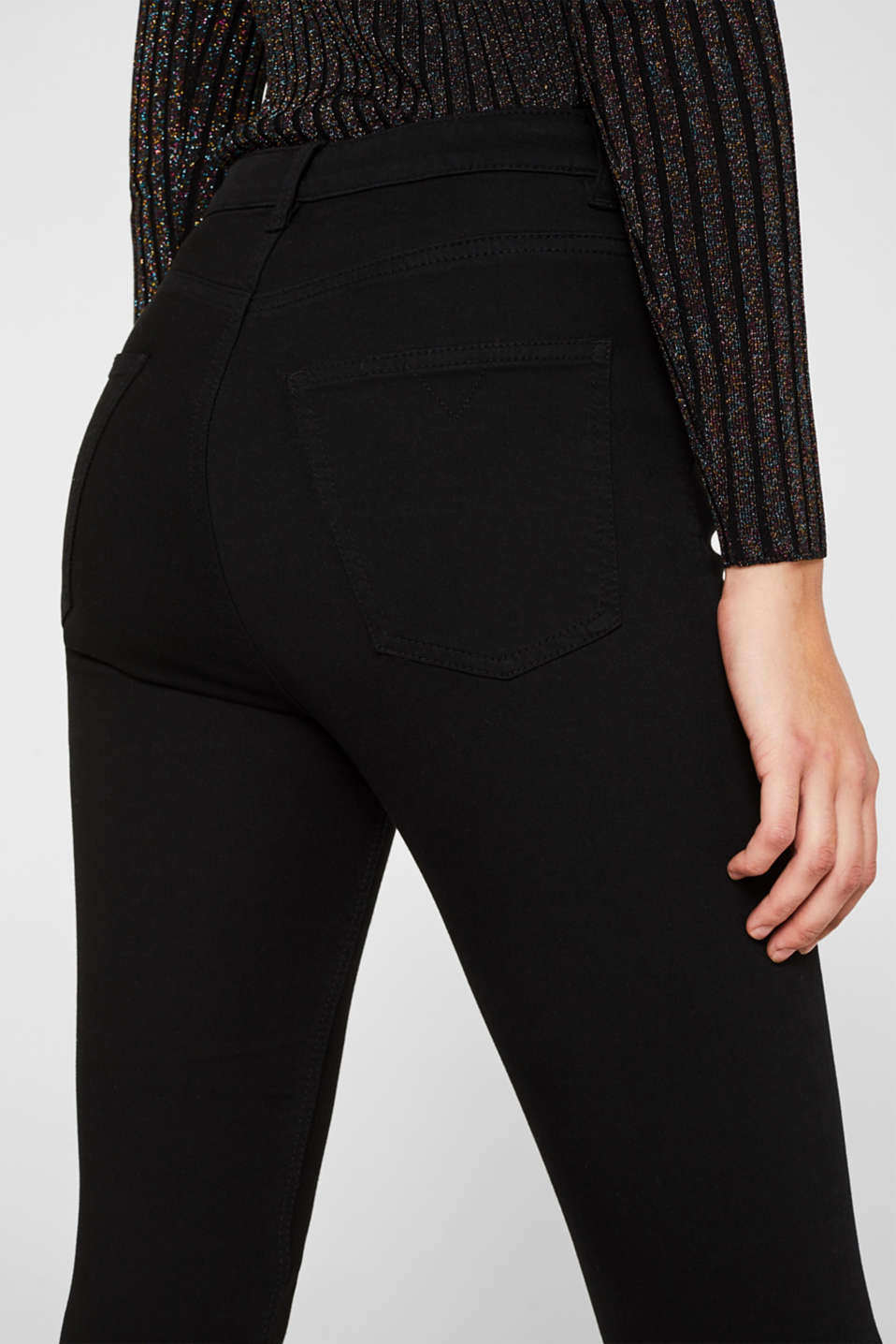 Stretch trousers with high-low hems, BLACK, detail image number 6