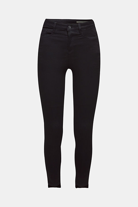 Stretch trousers with high-low hems