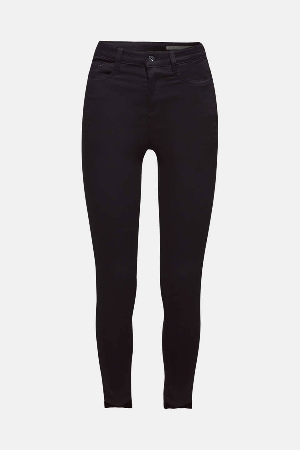 Stretch trousers with high-low hems, BLACK, detail image number 8