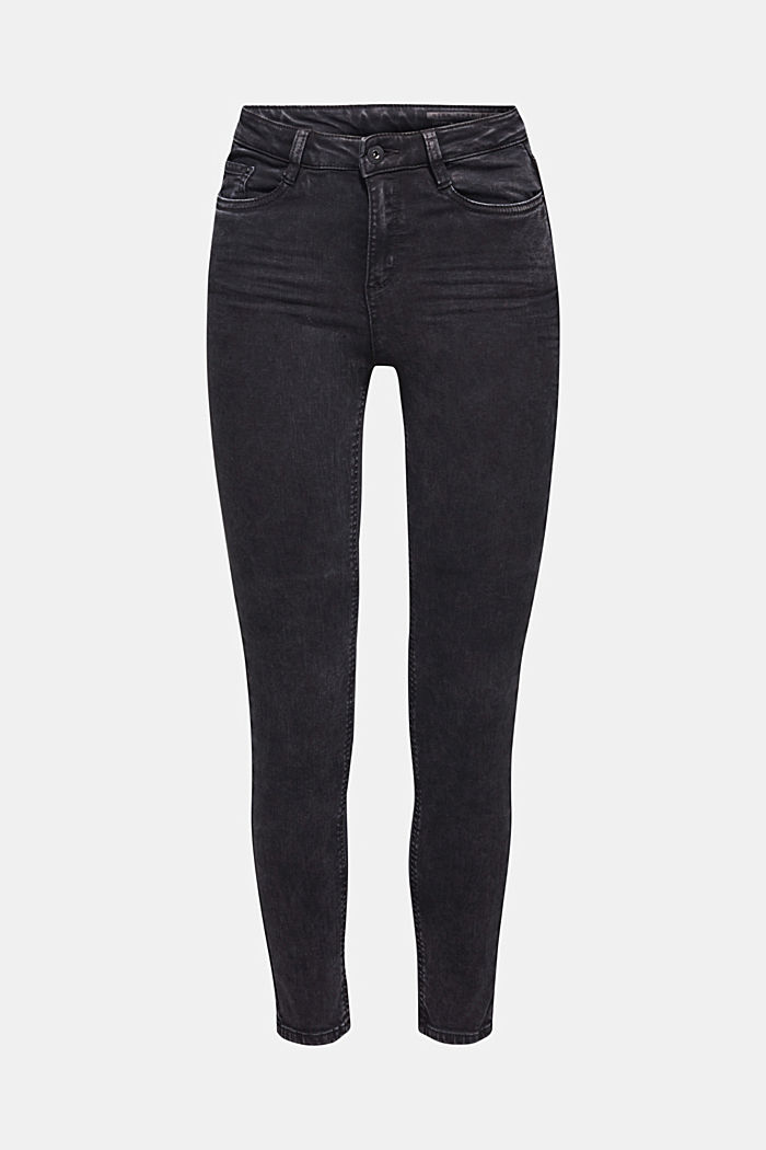 Super stretch jeans in an acid look, BLACK, detail image number 7