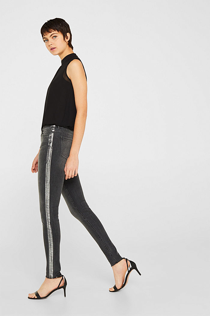 Stretch jeans with shiny stripes