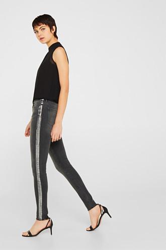 Stretch jeans with shiny stripes
