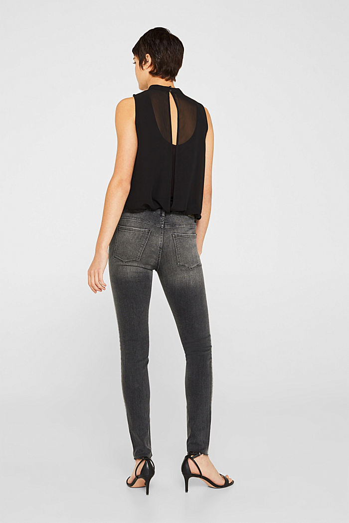 Stretch jeans with shiny stripes, BLACK MEDIUM WASHED, detail image number 3