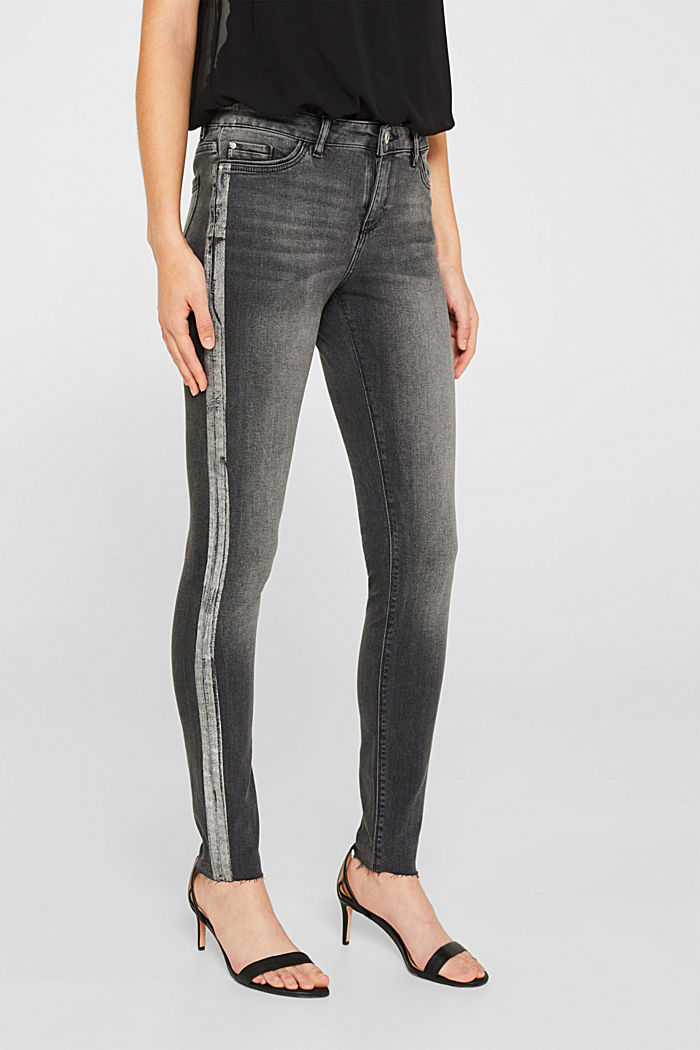 Stretch jeans with shiny stripes, BLACK MEDIUM WASHED, detail image number 6