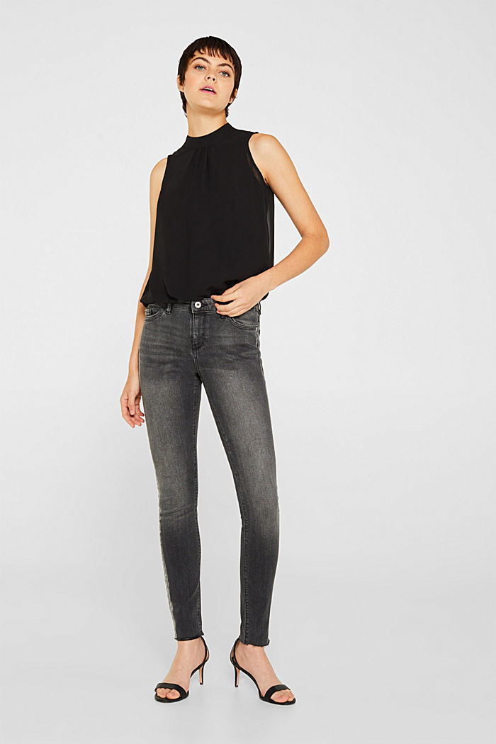 Stretch jeans with shiny stripes, BLACK MEDIUM WASHED, detail image number 1